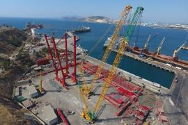 Hareket team started to assemble 2 unit Liebherr STS port crane at Izmir Aliaga Port